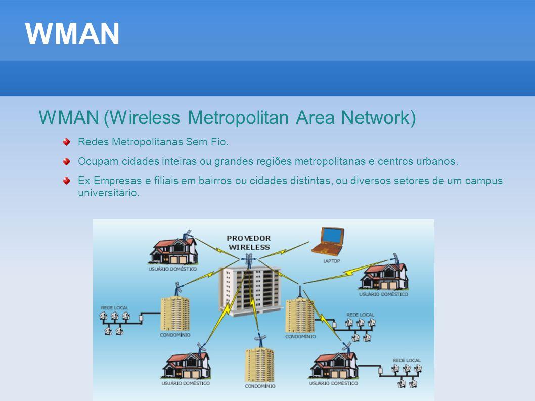 WMAN WMAN (Wireless Metropolitan Area Network) Redes Metropolitanas Sem Fio. Ocupam cidades inteiras ou grandes regiões metropolitanas e centros urban