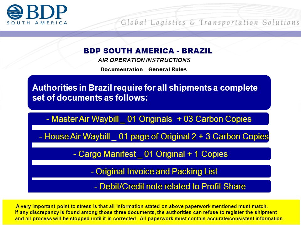 Authorities in Brazil require for all shipments a complete set of documents as follows: BDP SOUTH AMERICA - BRAZIL AIR OPERATION INSTRUCTIONS Documentation – General Rules - Master Air Waybill _ 01 Originals + 03 Carbon Copies - House Air Waybill _ 01 page of Original 2 + 3 Carbon Copies A very important point to stress is that all information stated on above paperwork mentioned must match.