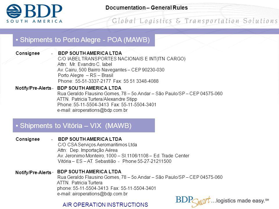 Shipments to Vitória – VIX (MAWB) - BDP SOUTH AMERICA LTDA C/O CSA Serviços Aeromaritimos Ltda Attn: Dep. Importação Aérea Av. Jeronimo Monteiro, 1000