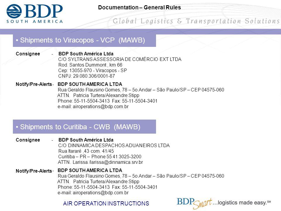 Shipments to Viracopos - VCP (MAWB) - BDP South América Ltda C/O SYLTRANS ASSESSORIA DE COMÉRCIO EXT LTDA Rod. Santos Dummont, km 66 Cep: 13055-970 -