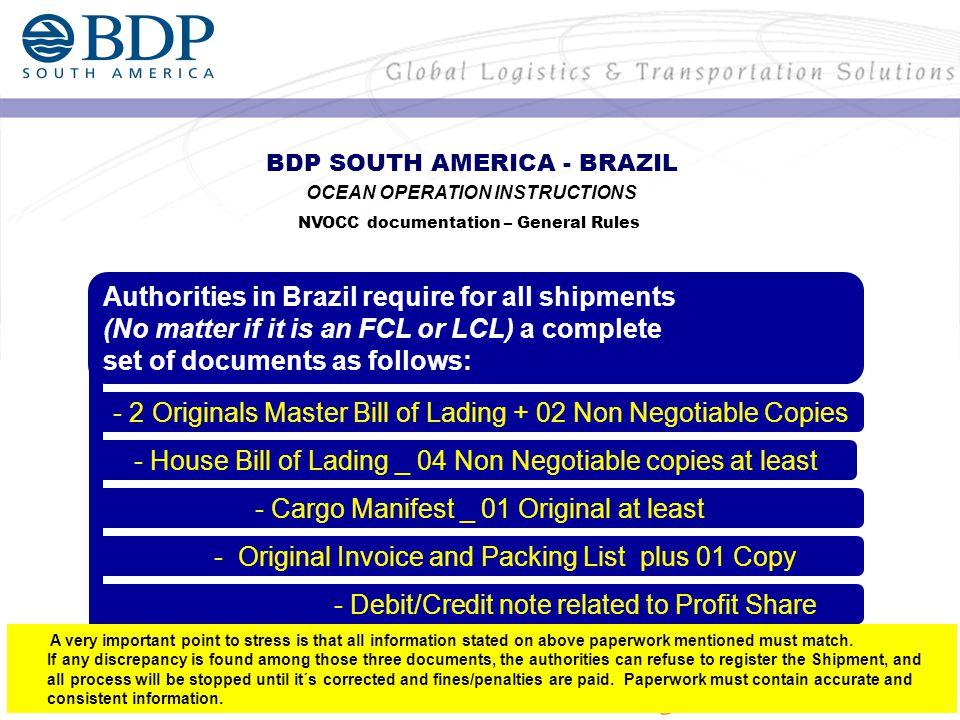 Shipments to Manaus - MAO (MAWB) Consignee Shipments to Salvador - SSA (MAWB) Consignee Notify/Pre-Alerts AIR OPERATION INSTRUCTIONS Documentation – General Rules - BDP SOUTH AMERICA LTDA C/O Ability Serviços de Comércio Exterior Rua Pedro Rolim Bandeira, 143 - Edf.
