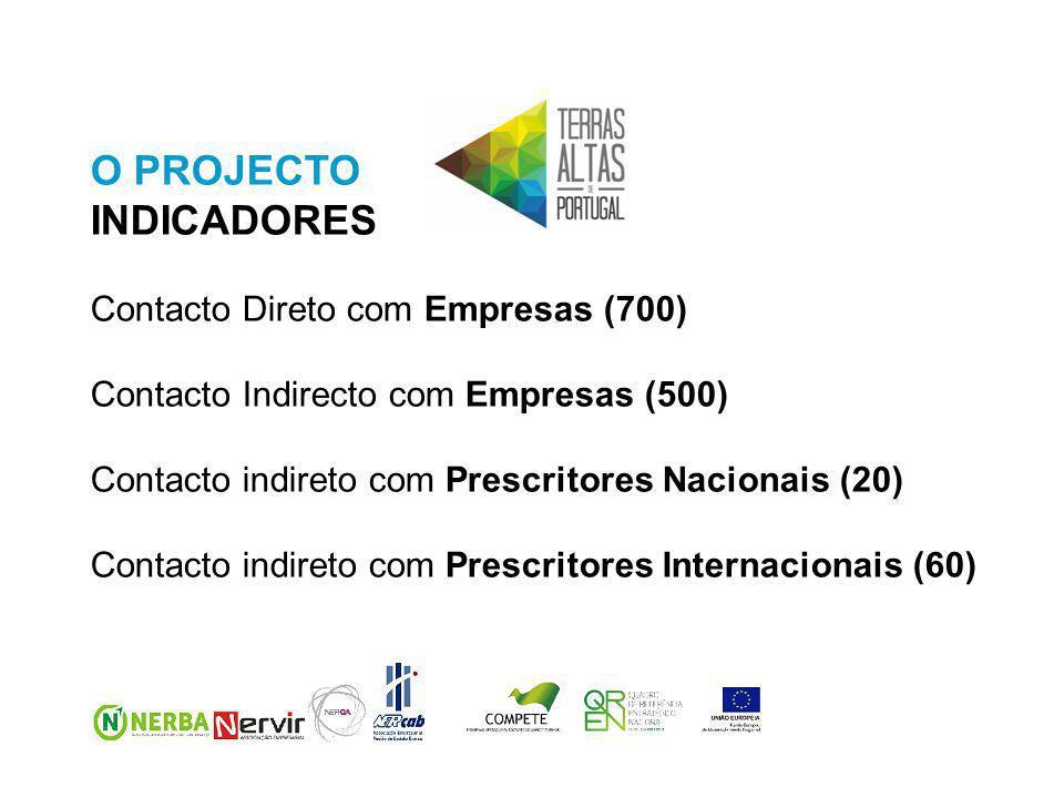 O PROJECTO INDICADORES Contacto Direto com Empresas (700) Contacto Indirecto com Empresas (500) Contacto indireto com Prescritores Nacionais (20) Contacto indireto com Prescritores Internacionais (60)