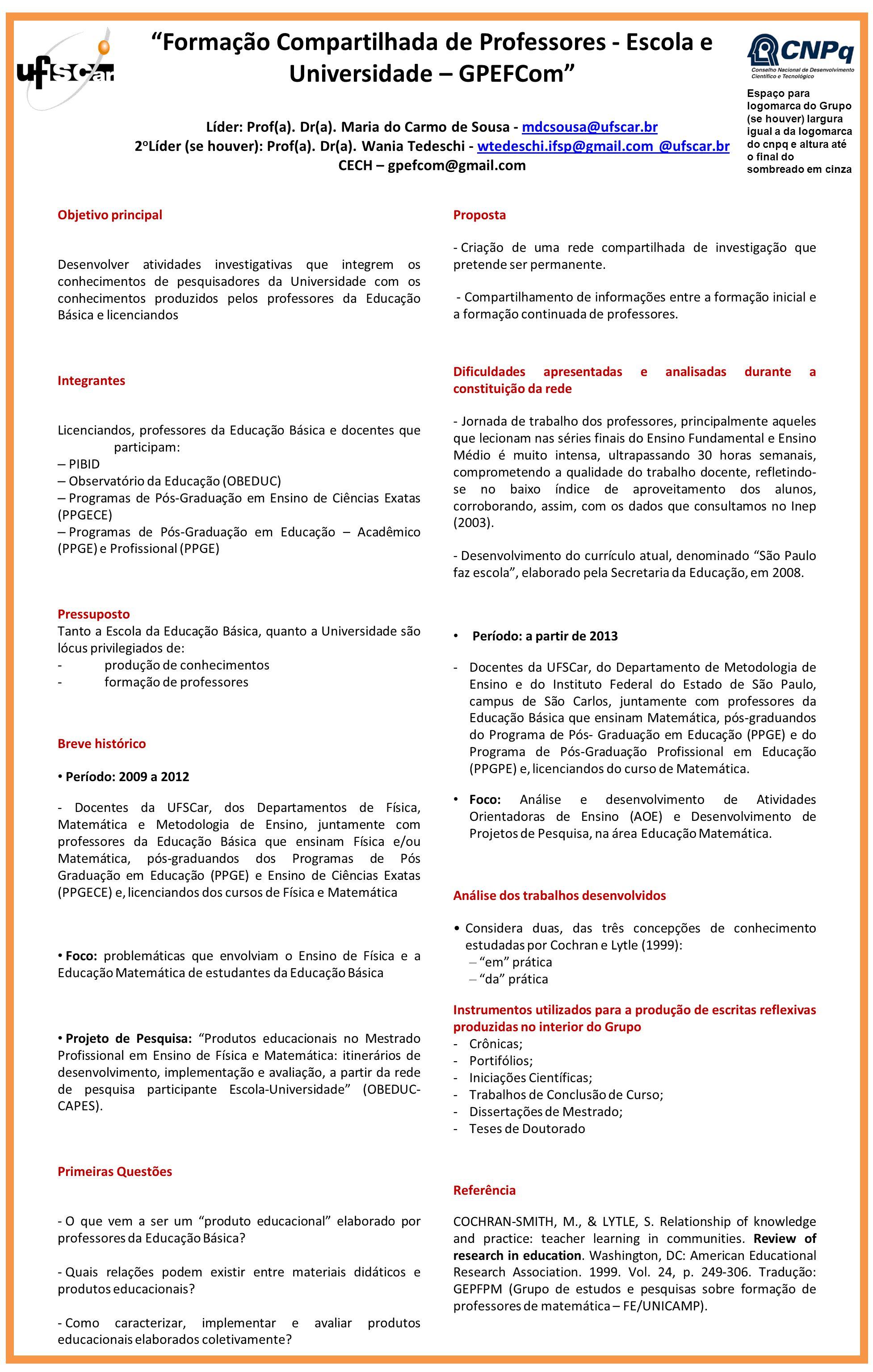 Líder: Prof(a). Dr(a). Maria do Carmo de Sousa - mdcsousa@ufscar.brmdcsousa@ufscar.br 2 o Líder (se houver): Prof(a). Dr(a). Wania Tedeschi - wtedesch