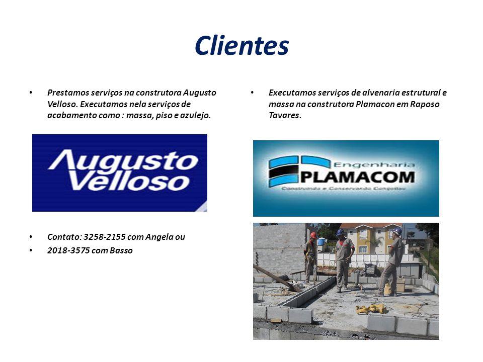 Clientes Prestamos serviços na construtora Augusto Velloso. Executamos nela serviços de acabamento como : massa, piso e azulejo. Contato: 3258-2155 co