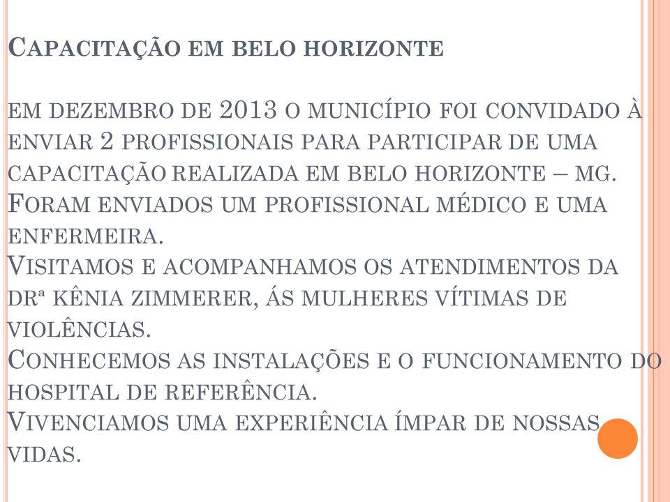 C APACITAÇÃO EM BELO HORIZONTE EM DEZEMBRO DE 2013 O MUNICÍPIO FOI CONVIDADO À ENVIAR 2 PROFISSIONAIS PARA PARTICIPAR DE UMA CAPACITAÇÃO REALIZADA EM BELO HORIZONTE – MG.