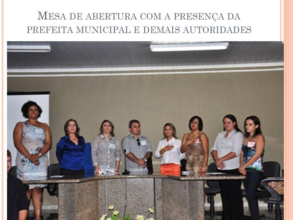 M ESA DE ABERTURA COM A PRESENÇA DA PREFEITA MUNICIPAL E DEMAIS AUTORIDADES