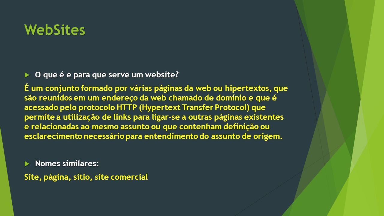 WebSites  O que é e para que serve um website? É um conjunto formado por várias páginas da web ou hipertextos, que são reunidos em um endereço da web