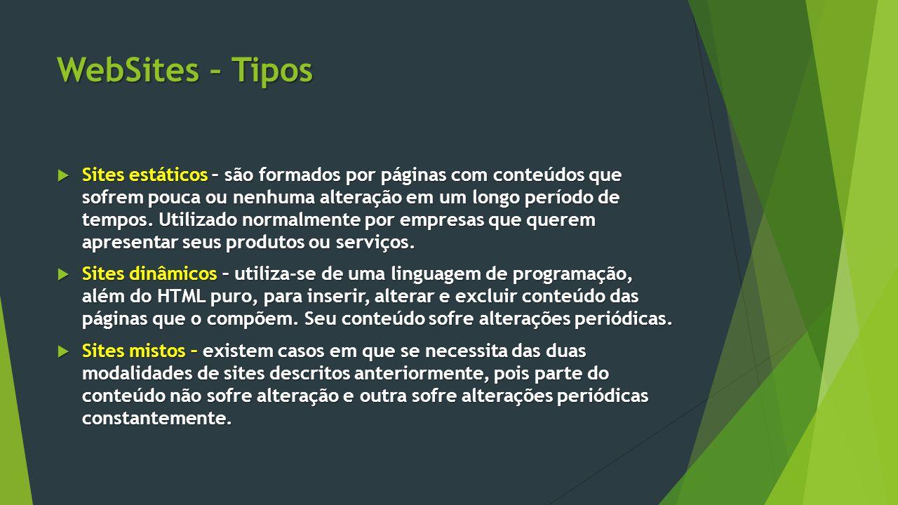 WebSites – Tipos  Sites estáticos – são formados por páginas com conteúdos que sofrem pouca ou nenhuma alteração em um longo período de tempos. Utili