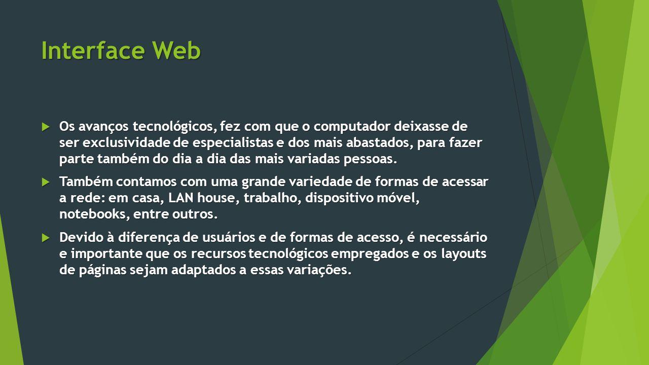 Interface Web  Os avanços tecnológicos, fez com que o computador deixasse de ser exclusividade de especialistas e dos mais abastados, para fazer part