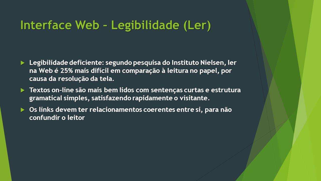 Interface Web – Legibilidade (Ler)  Legibilidade deficiente: segundo pesquisa do Instituto Nielsen, ler na Web é 25% mais difícil em comparação à lei