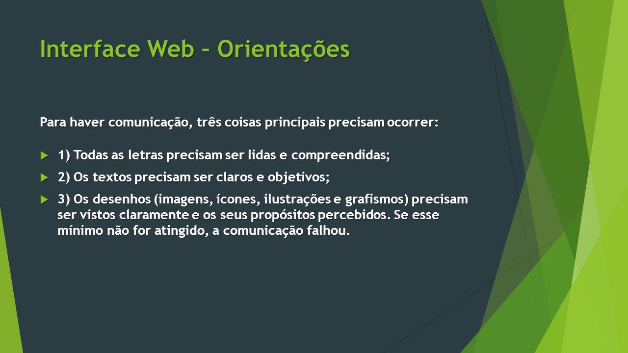 Interface Web – Orientações Para haver comunicação, três coisas principais precisam ocorrer:  1) Todas as letras precisam ser lidas e compreendidas;