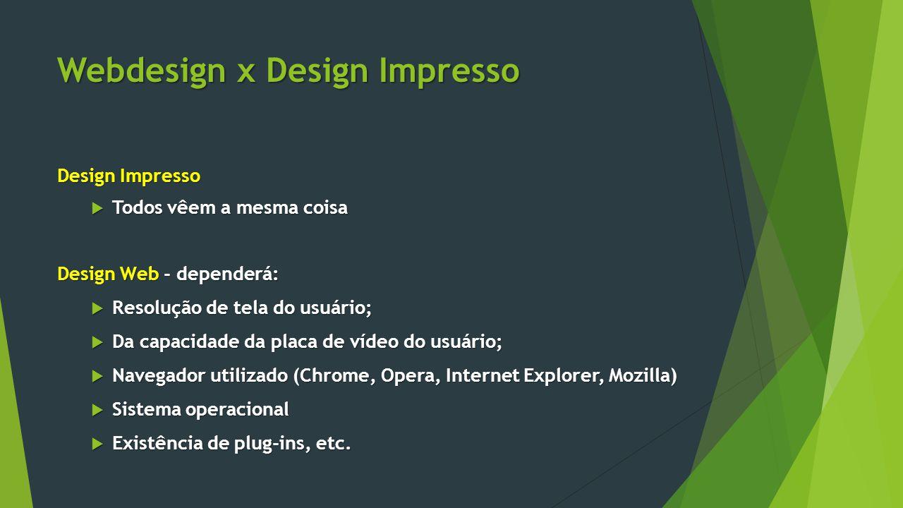 Webdesign x Design Impresso Design Impresso  Todos vêem a mesma coisa Design Web - dependerá:  Resolução de tela do usuário;  Da capacidade da plac