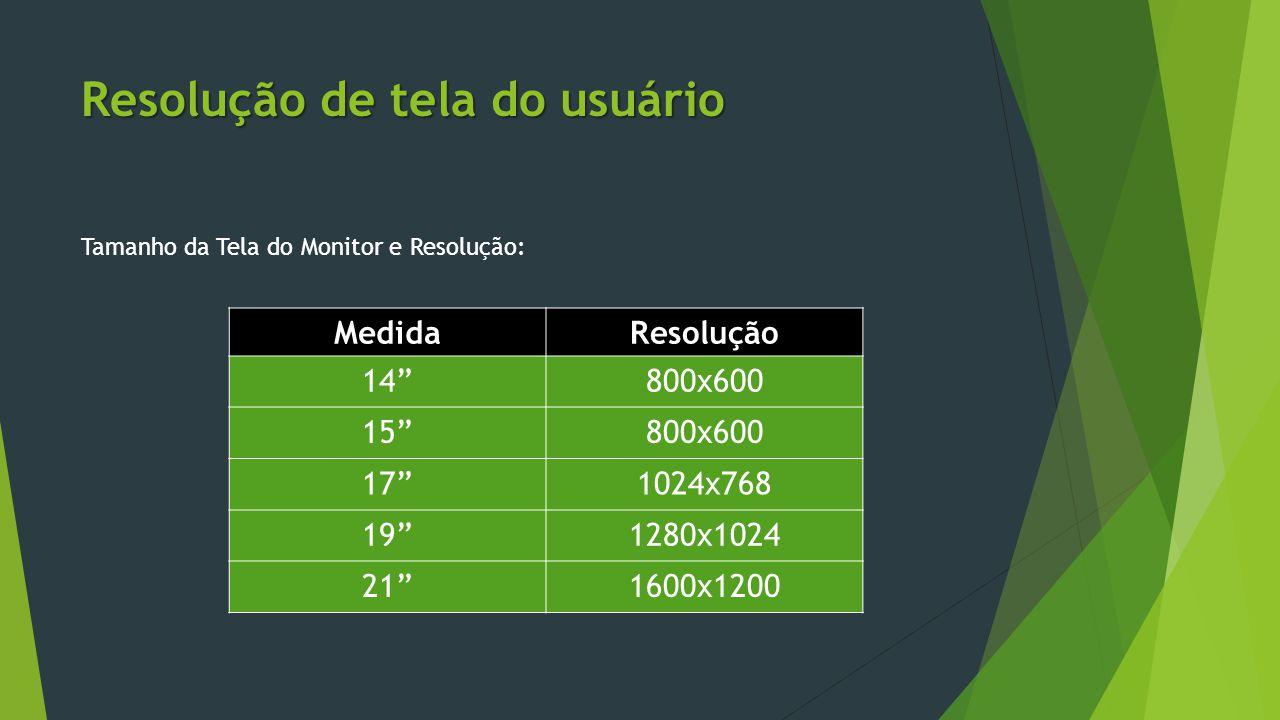 """Resolução de tela do usuário Tamanho da Tela do Monitor e Resolução: MedidaResolução 14""""800x600 15""""800x600 17""""1024x768 19""""1280x1024 21""""1600x1200"""
