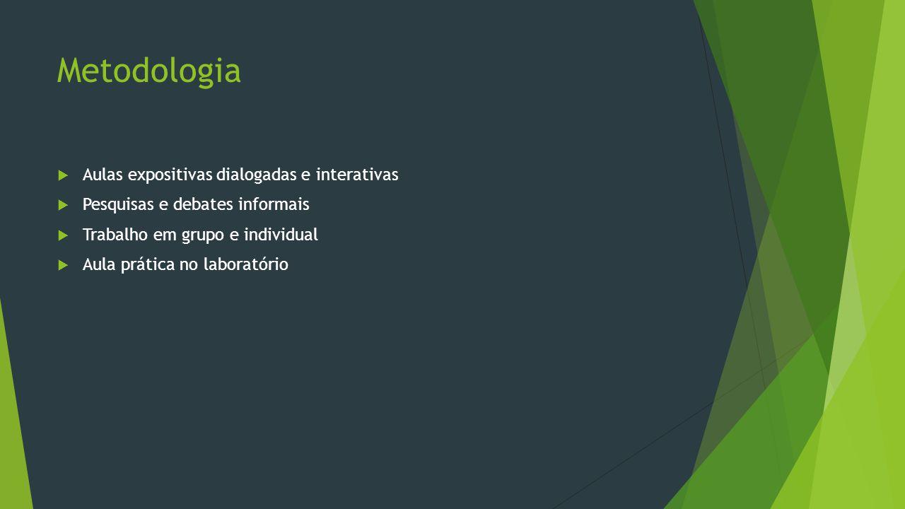 Metodologia  Aulas expositivas dialogadas e interativas  Pesquisas e debates informais  Trabalho em grupo e individual  Aula prática no laboratóri