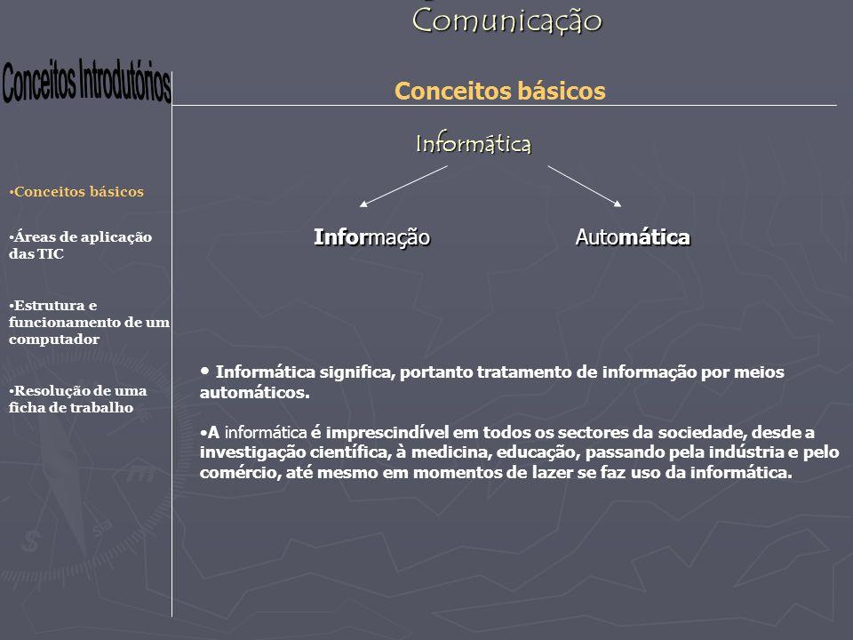 Tecnologias da Informação e Comunicação Conceitos básicos Áreas de aplicação das TIC Estrutura e funcionamento de um computador Resolução de uma ficha