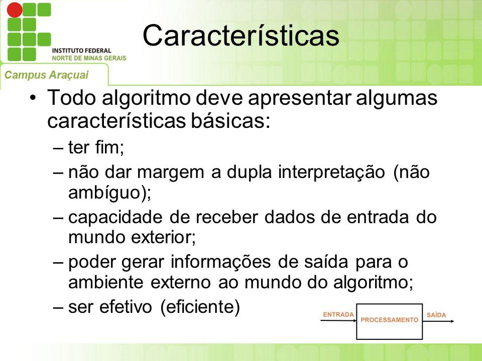 Características Todo algoritmo deve apresentar algumas características básicas: –ter fim; –não dar margem a dupla interpretação (não ambíguo); –capaci