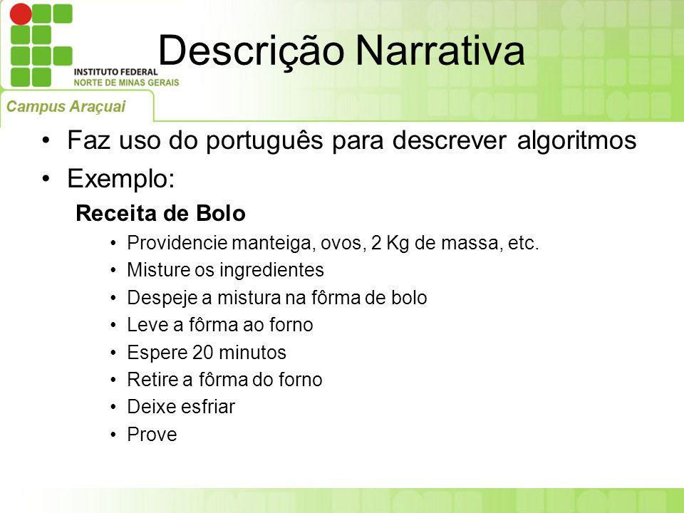 Descrição Narrativa Faz uso do português para descrever algoritmos Exemplo: Receita de Bolo Providencie manteiga, ovos, 2 Kg de massa, etc. Misture os