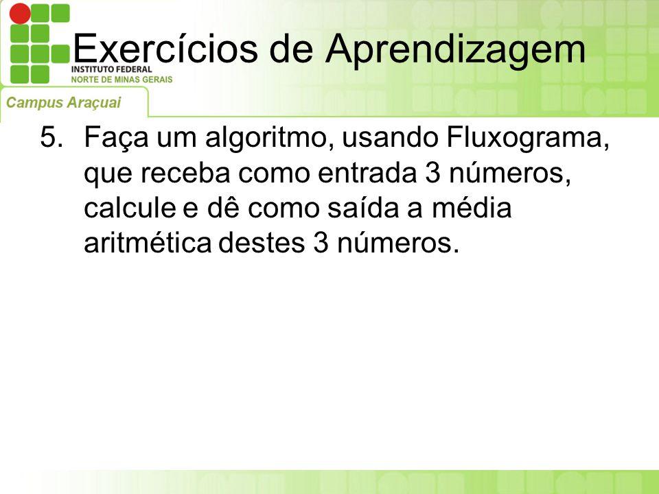 Exercícios de Aprendizagem 5.Faça um algoritmo, usando Fluxograma, que receba como entrada 3 números, calcule e dê como saída a média aritmética deste