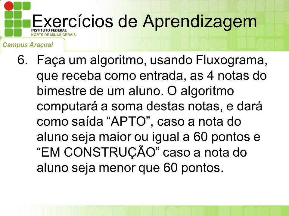 Exercícios de Aprendizagem 6.Faça um algoritmo, usando Fluxograma, que receba como entrada, as 4 notas do bimestre de um aluno. O algoritmo computará