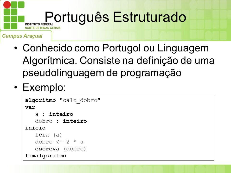 Português Estruturado Conhecido como Portugol ou Linguagem Algorítmica. Consiste na definição de uma pseudolinguagem de programação Exemplo: algoritmo