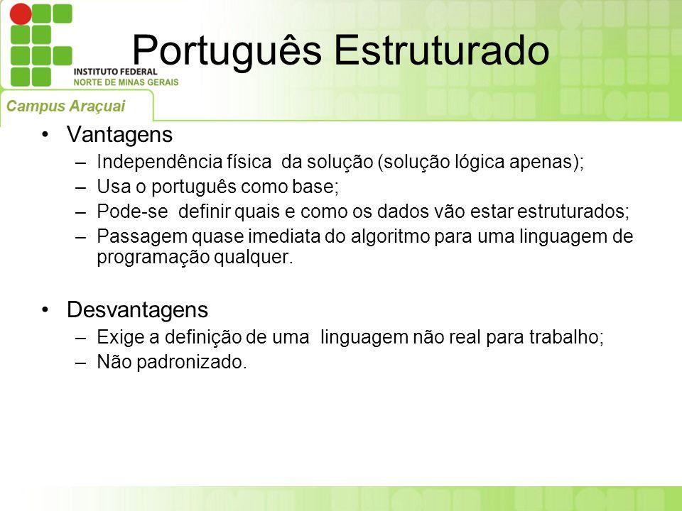 Vantagens –Independência física da solução (solução lógica apenas); –Usa o português como base; –Pode-se definir quais e como os dados vão estar estru