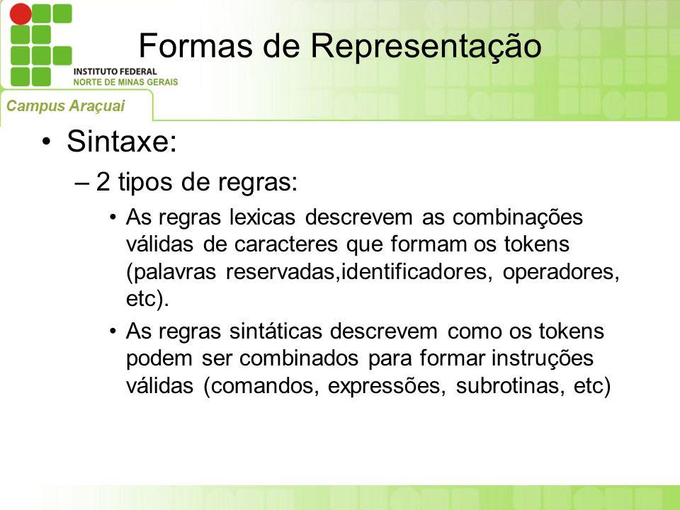 Formas de Representação Sintaxe: –2 tipos de regras: As regras lexicas descrevem as combinações válidas de caracteres que formam os tokens (palavras r