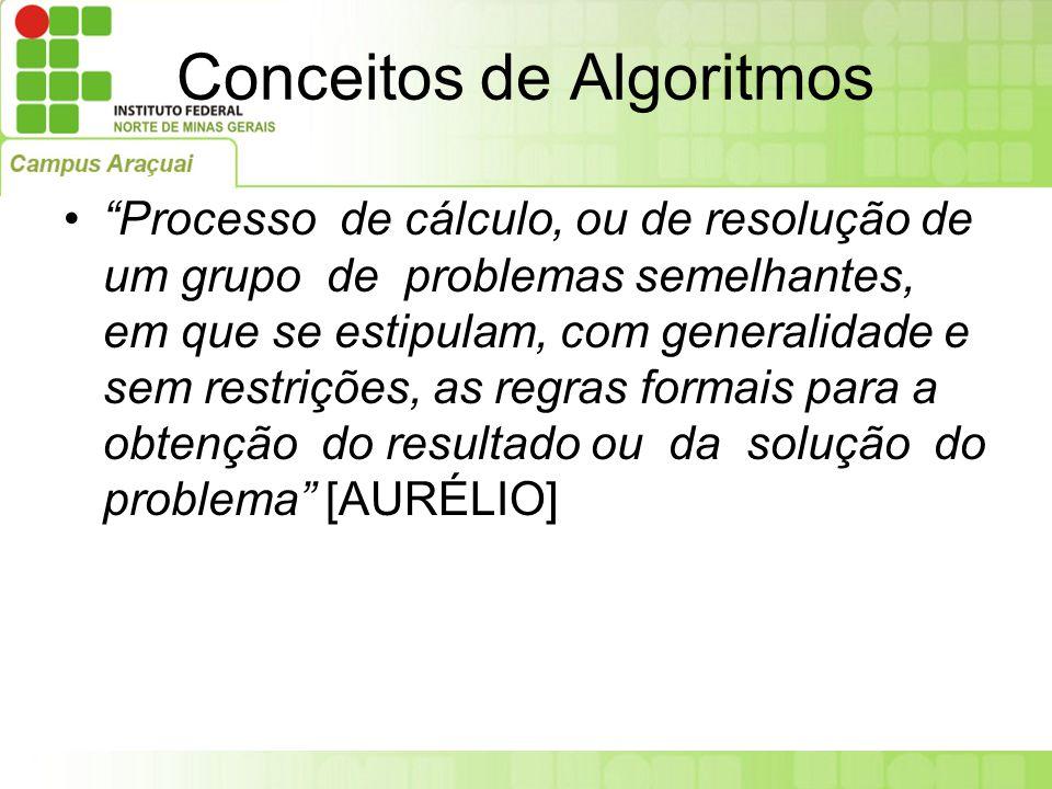"""Conceitos de Algoritmos """"Processo de cálculo, ou de resolução de um grupo de problemas semelhantes, em que se estipulam, com generalidade e sem restri"""