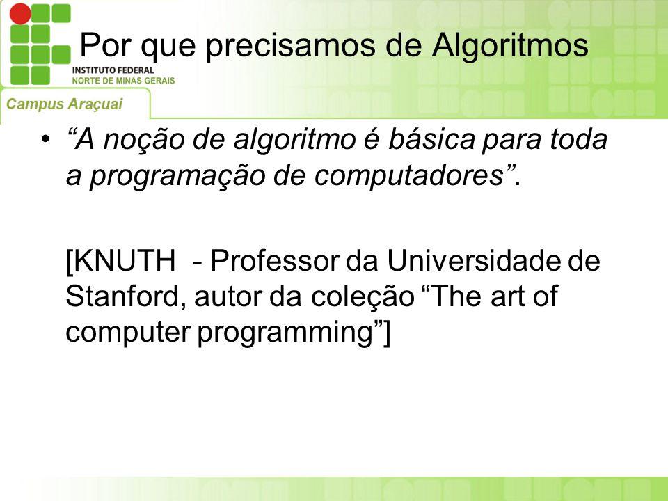 Por que precisamos de Algoritmos O conceito central da programação e da ciência da computação é o conceito de algoritmo .