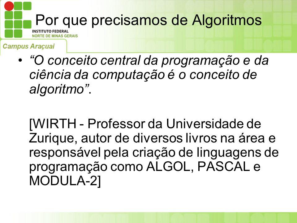 """Por que precisamos de Algoritmos """"O conceito central da programação e da ciência da computação é o conceito de algoritmo"""". [WIRTH - Professor da Unive"""