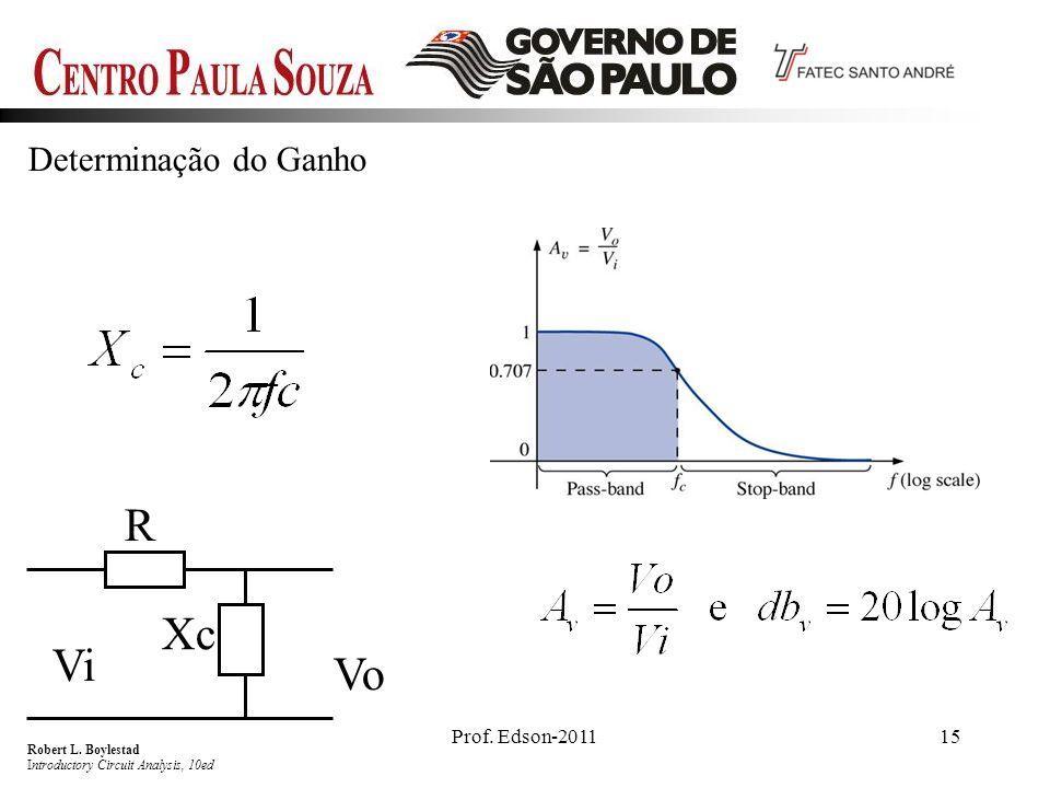 Prof. Edson-201115 Determinação do Ganho R Xc Vi Vo Robert L. Boylestad Introductory Circuit Analysis, 10ed