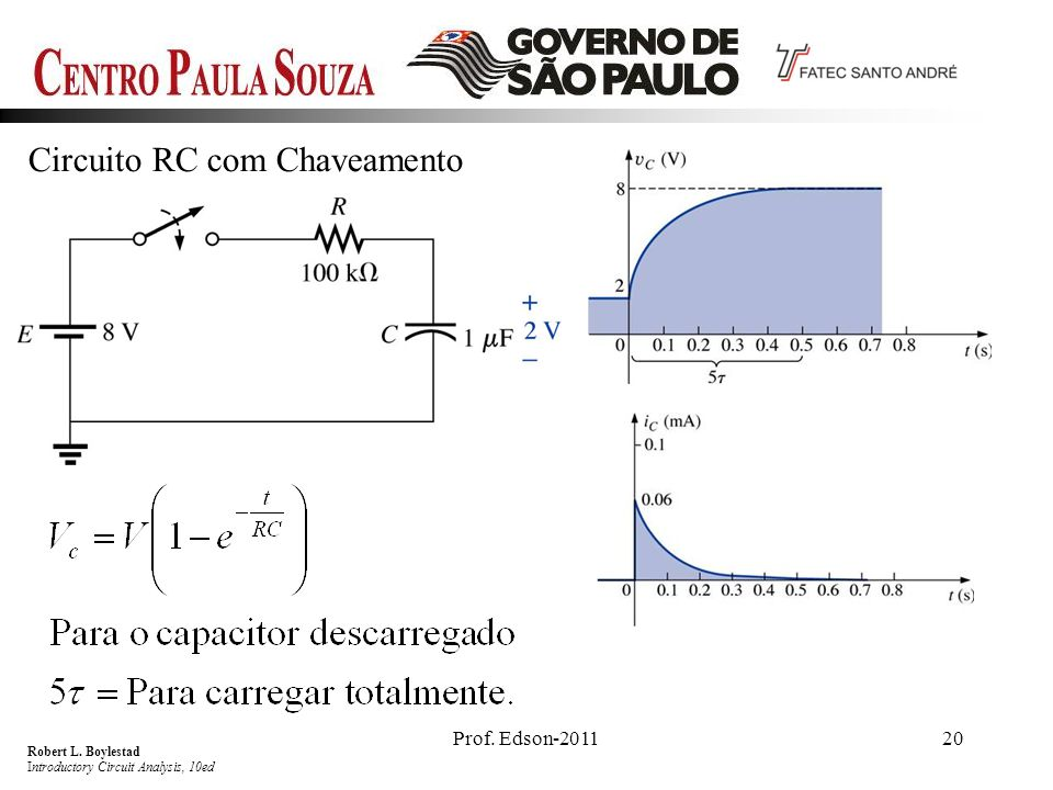 Prof. Edson-201120 Circuito RC com Chaveamento Robert L. Boylestad Introductory Circuit Analysis, 10ed