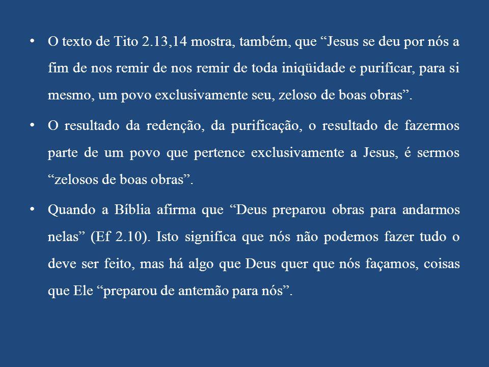 """O texto de Tito 2.13,14 mostra, também, que """"Jesus se deu por nós a fim de nos remir de nos remir de toda iniqüidade e purificar, para si mesmo, um po"""