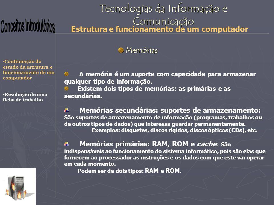 Tecnologias da Informação e Comunicação Estrutura e funcionamento de um computador Memórias RAM Memórias RAM São memórias que contém os programas e os dados com que se está a trabalhar no momento.