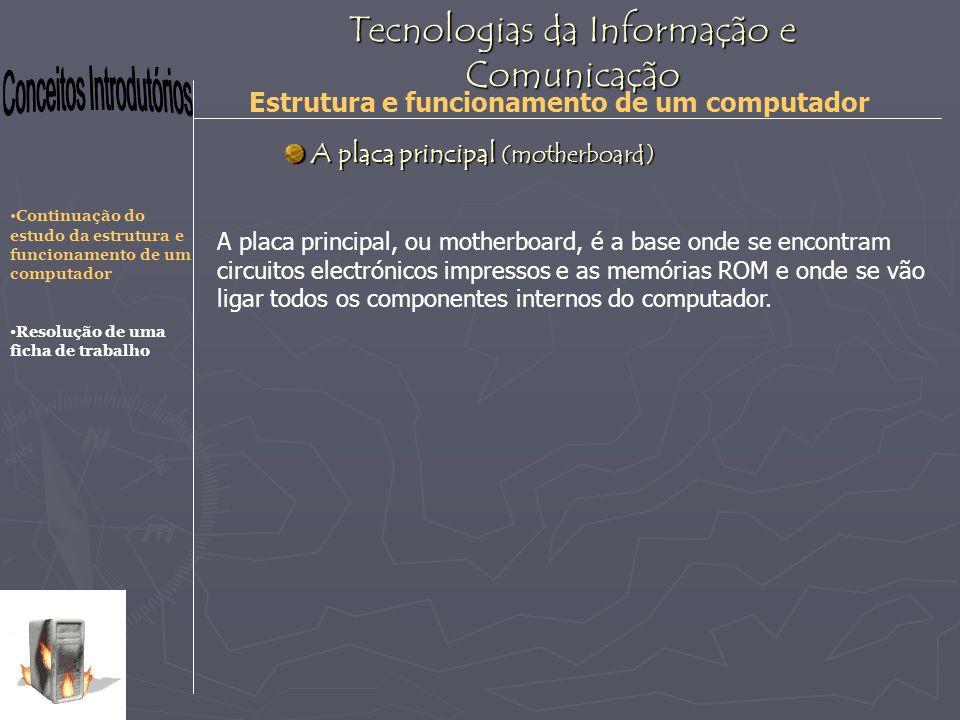 Tecnologias da Informação e Comunicação Estrutura e funcionamento de um computador CPU Encaixes para placas de expansão Memória ROM Conectores Encaixes para unidades (drives) Encaixe s para a memória RAM Encaixe para o processador Chips de controlo A placa principal (motherboard) A placa principal (motherboard) Continuação do estudo da estrutura e funcionamento de um computador Resolução de uma ficha de trabalho