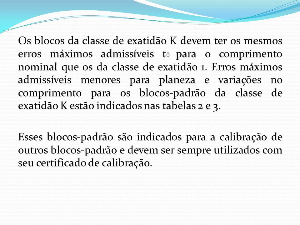 Os blocos da classe de exatidão K devem ter os mesmos erros máximos admissíveis t θ para o comprimento nominal que os da classe de exatidão 1.