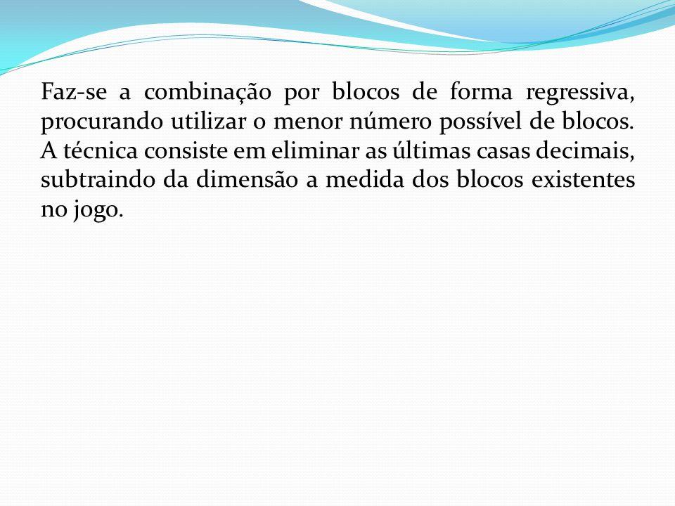 Faz-se a combinação por blocos de forma regressiva, procurando utilizar o menor número possível de blocos.