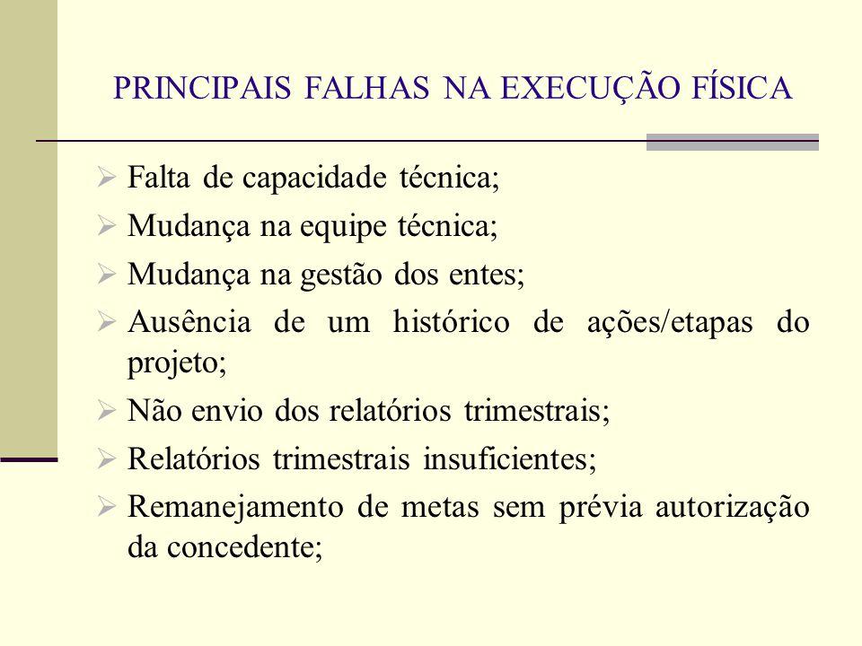 PRINCIPAIS FALHAS NA EXECUÇÃO FÍSICA  Falta de capacidade técnica;  Mudança na equipe técnica;  Mudança na gestão dos entes;  Ausência de um histó