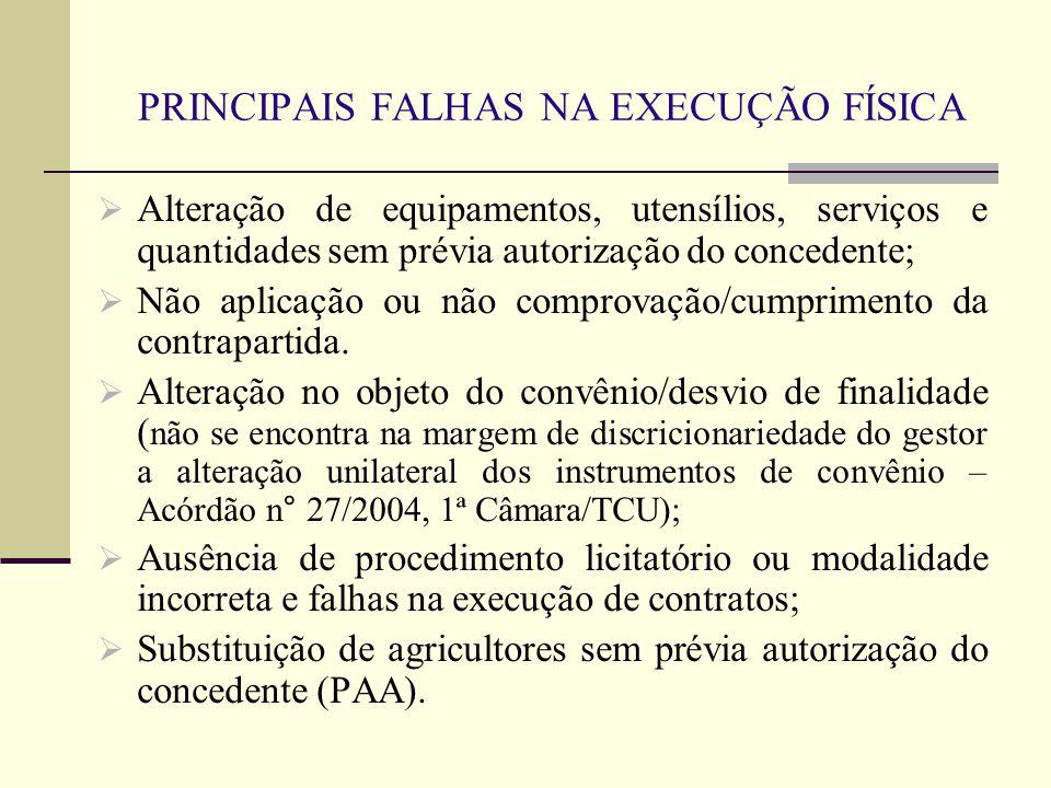 PRINCIPAIS FALHAS NA EXECUÇÃO FÍSICA  Alteração de equipamentos, utensílios, serviços e quantidades sem prévia autorização do concedente;  Não aplicação ou não comprovação/cumprimento da contrapartida.