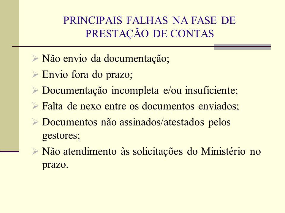 PRINCIPAIS FALHAS NA FASE DE PRESTAÇÃO DE CONTAS  Não envio da documentação;  Envio fora do prazo;  Documentação incompleta e/ou insuficiente;  Fa