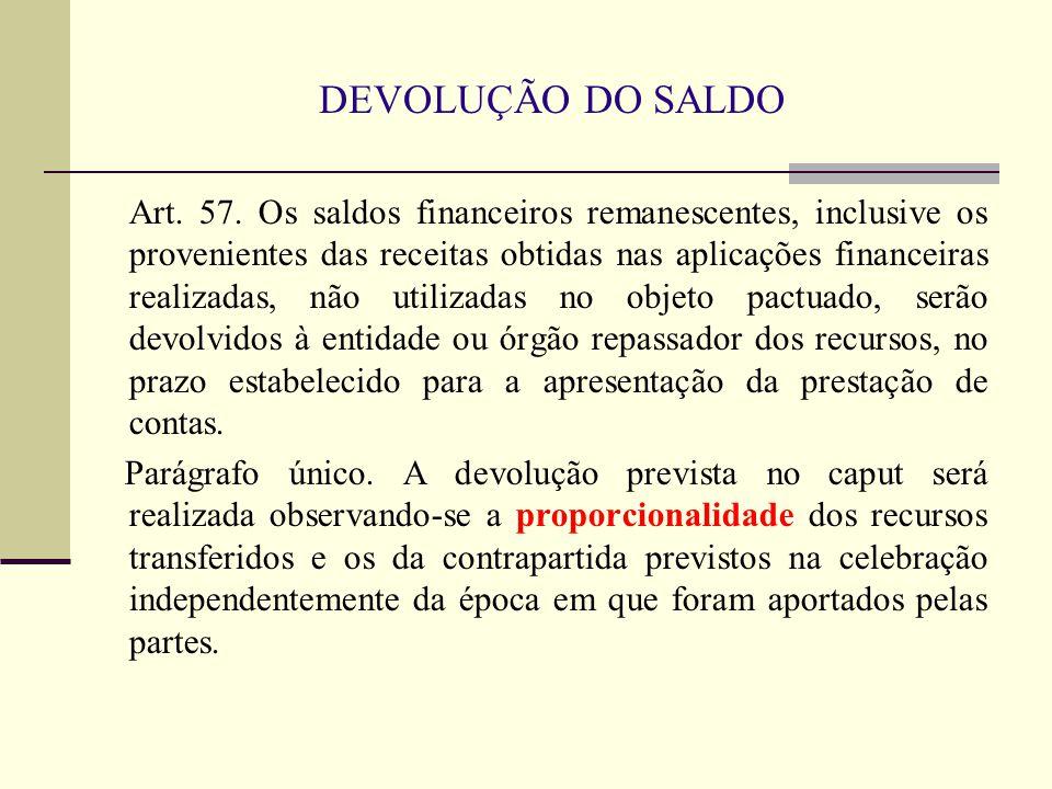 DEVOLUÇÃO DO SALDO Art. 57. Os saldos financeiros remanescentes, inclusive os provenientes das receitas obtidas nas aplicações financeiras realizadas,