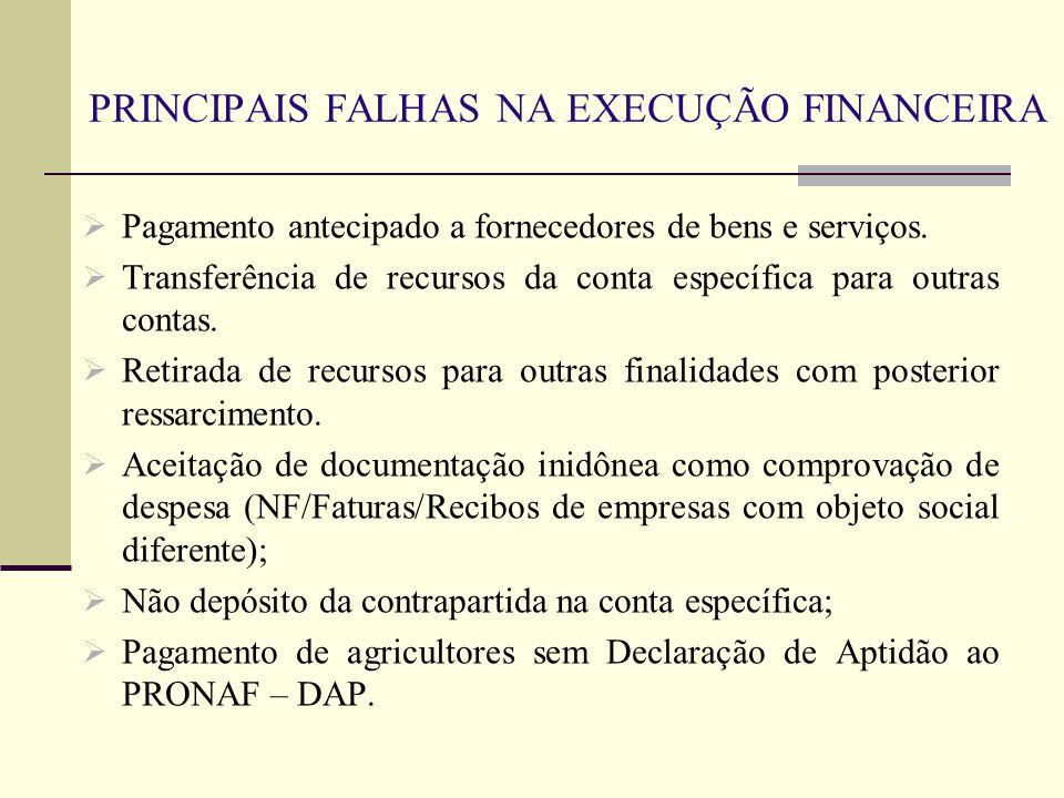PRINCIPAIS FALHAS NA EXECUÇÃO FINANCEIRA  Pagamento antecipado a fornecedores de bens e serviços.  Transferência de recursos da conta específica par