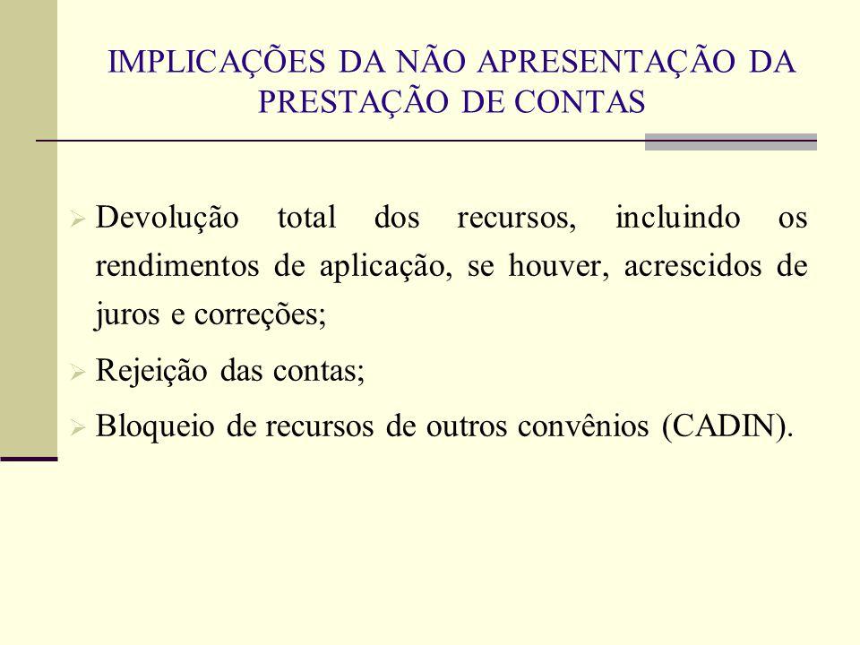 IMPLICAÇÕES DA NÃO APRESENTAÇÃO DA PRESTAÇÃO DE CONTAS  Devolução total dos recursos, incluindo os rendimentos de aplicação, se houver, acrescidos de