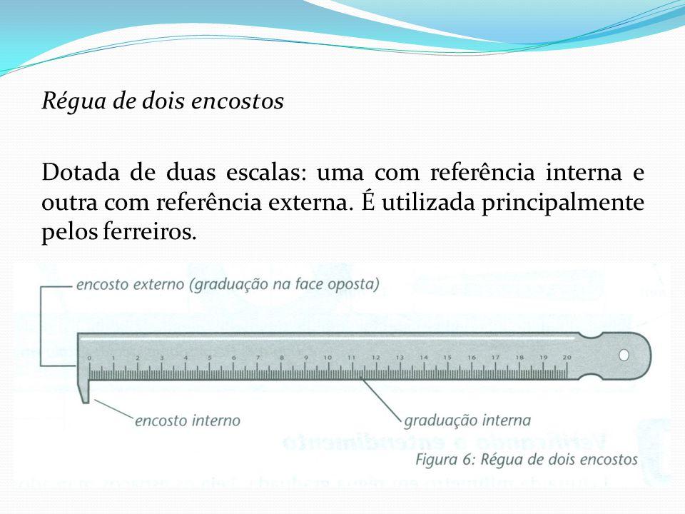 Régua de dois encostos Dotada de duas escalas: uma com referência interna e outra com referência externa. É utilizada principalmente pelos ferreiros.