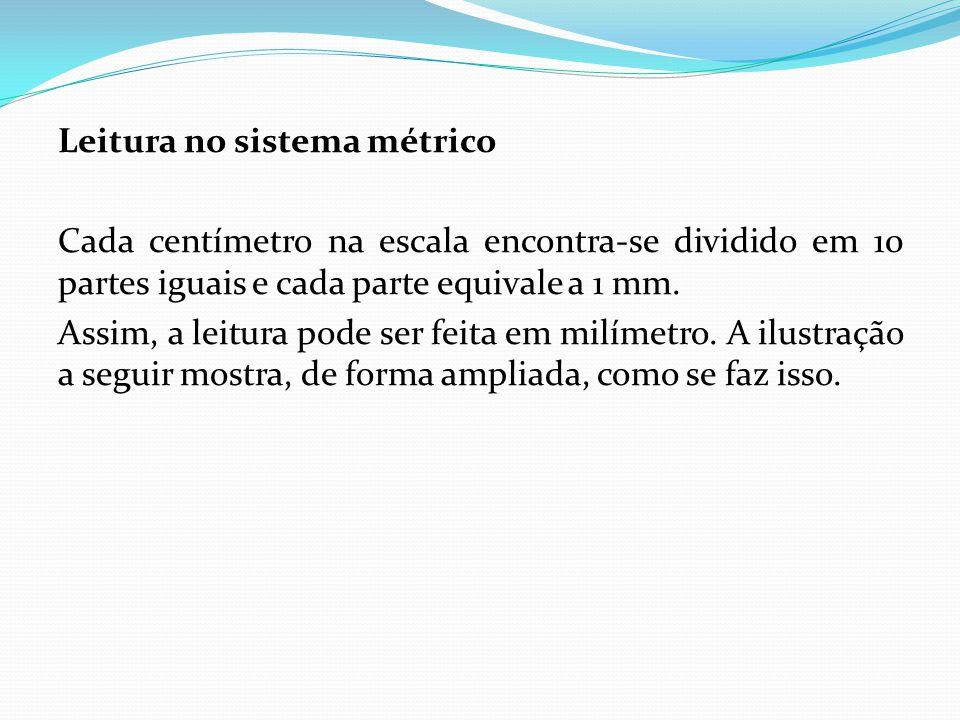 Leitura no sistema métrico Cada centímetro na escala encontra-se dividido em 10 partes iguais e cada parte equivale a 1 mm. Assim, a leitura pode ser