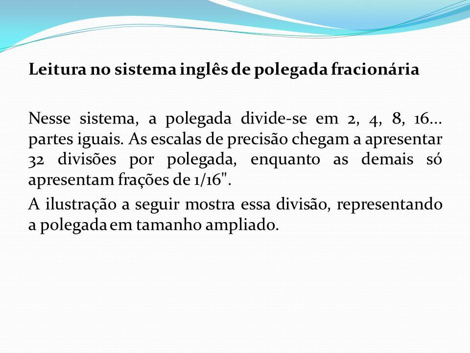 Leitura no sistema inglês de polegada fracionária Nesse sistema, a polegada divide-se em 2, 4, 8, 16... partes iguais. As escalas de precisão chegam a