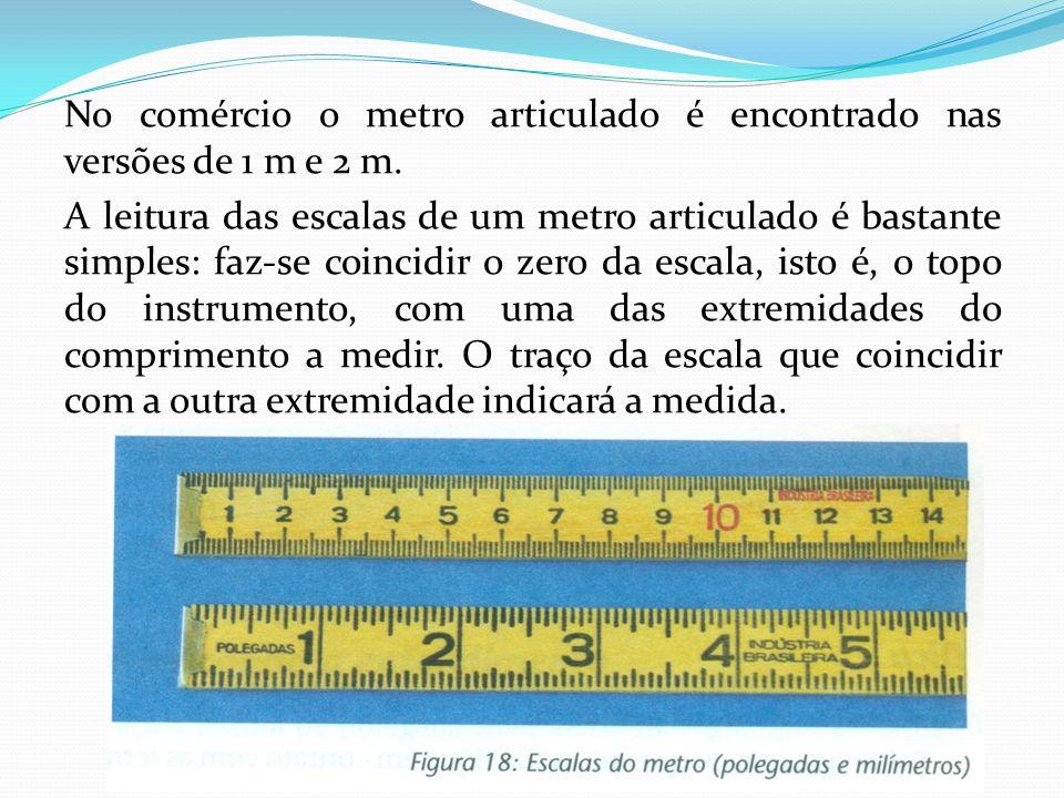 No comércio o metro articulado é encontrado nas versões de 1 m e 2 m. A leitura das escalas de um metro articulado é bastante simples: faz-se coincidi
