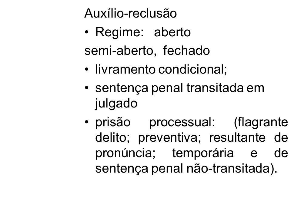 Auxílio-reclusão Regime: aberto semi-aberto, fechado livramento condicional; sentença penal transitada em julgado prisão processual: (flagrante delito