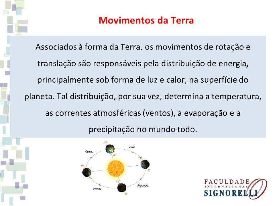 Associados à forma da Terra, os movimentos de rotação e translação são responsáveis pela distribuição de energia, principalmente sob forma de luz e ca