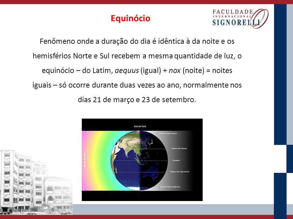Fenômeno onde a duração do dia é idêntica à da noite e os hemisférios Norte e Sul recebem a mesma quantidade de luz, o equinócio – do Latim, aequus (i