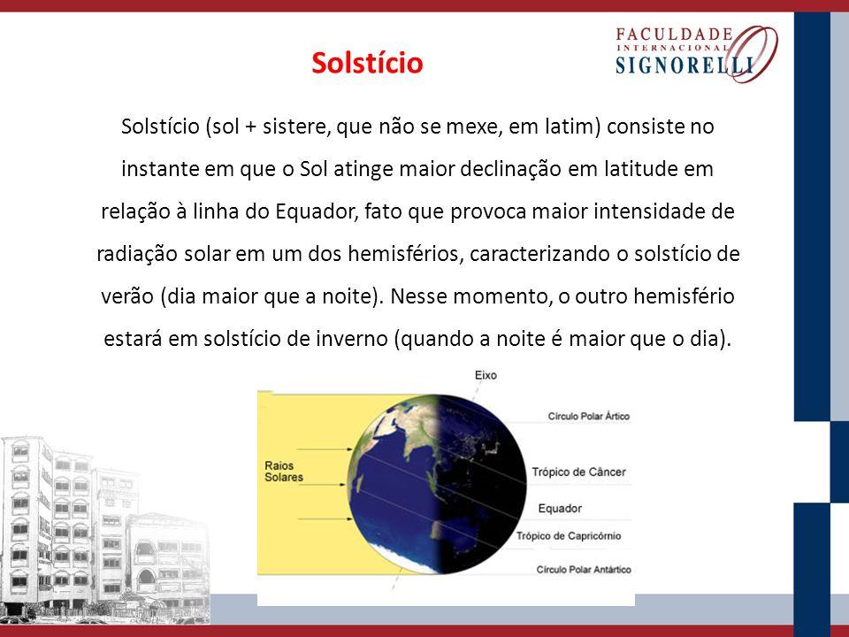 Solstício (sol + sistere, que não se mexe, em latim) consiste no instante em que o Sol atinge maior declinação em latitude em relação à linha do Equad
